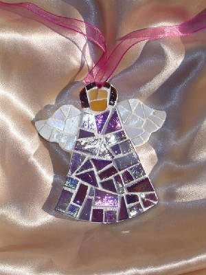 Mosaic Angel Ornament ~ Iridescent Purple