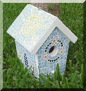 Mosaic Birdhouse ~ Full View