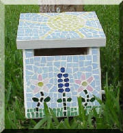 Mosaic Birdhouse ~ Side View