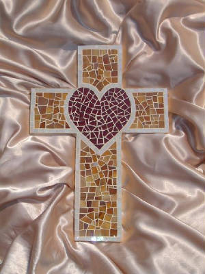 Large Mosaic Cross ~ Heart with Tan Background