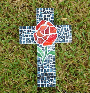 Mosaic Cross ~ She Loved Roses