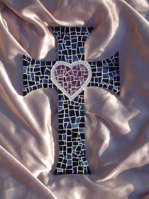 Mosaic Cross ~ Flared Heart in Navy