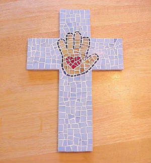 Mosaic Cross ~ Heart in Hand in Blues