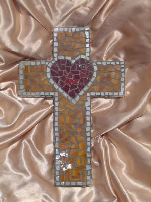 Mosaic Cross ~ Medium Tan Heart