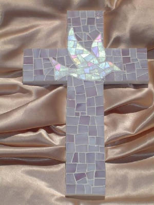 Small Mosaic Cross ~ Dove with Lavender Background