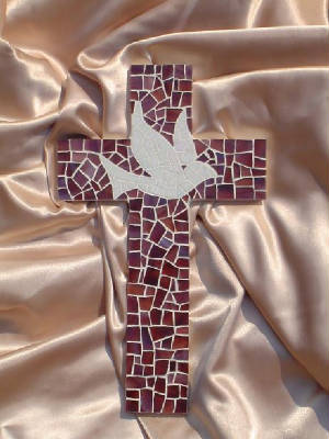 Small Mosaic Cross ~ Dove with Purple Background