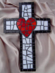 Smallest Mosaic Cross ~ Red Heart w/ Black Outline