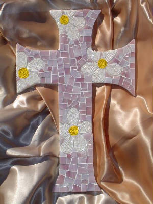 Mosaic Cross ~ Beaded Daisies Lavender Background