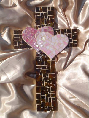 Mosaic Cross ~ Two Hearts Become One