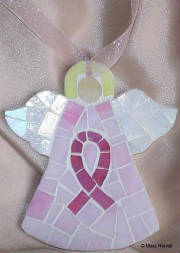Mosaic Angel ~ Breast Cancer Pink Ribbon