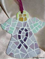 Mosaic Angel ~ Cystic Fibrosis Purple Ribbon
