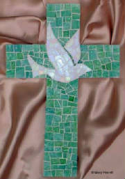 Mosaic Cross ~ Dove on Blue / Green