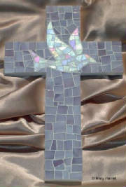 Mosaic Cross ~ Dove on Lavender