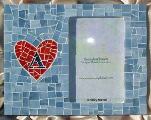 "Mosaic Picture Frame ~ Personalized ""A"" Heart"