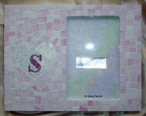 "Mosaic Picture Frame ~ Personalized ""S"" Heart"
