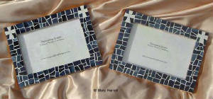 Mosaic Picture Frame ~ Baptism Crosses on Navy