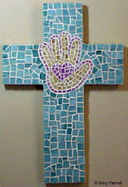 Mosaic Cross ~ Heart In Hand on Sage