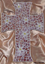 Mosaic Cross ~ Pieced Daisies on Mauve