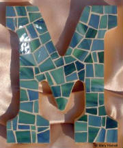 "Mosaic Letter ~ ""M"" in Blues and Greens"