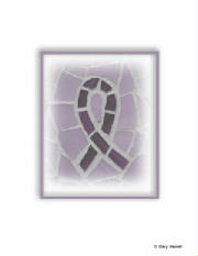 Mosaic Notecards ~ Cystic Fibrosis Purple Ribbon