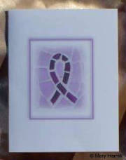 Mosaic Notecard ~ Cystic Fibrosis Purple Ribbon