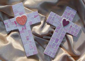 Mosaic Crosses ~ Light Pink Hearts