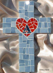 "Mosaic Cross ~ Personalized ""A"" Heart"
