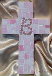 "Mosaic Cross ~ Personalized ""B"" in Millefiore"