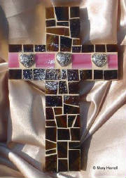 Mosaic Cross ~ Silver Hearts and Pink on Chocolate