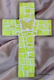 Mosaic Cross ~ Bright Yellow Butterfly