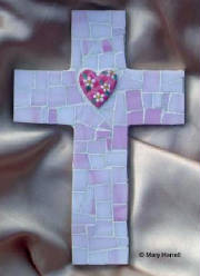 Mosaic Cross ~ Handpainted Daisy Heart on Pink