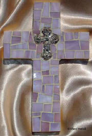 Mosaic Cross ~ Pewter Cross on Lavender