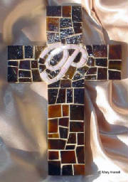 "Mosaic Cross~Personalized Script ""P"" on Chocolate"