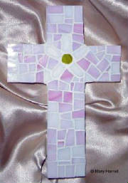 Mosaic Cross ~ Pieced Daisy on Pink