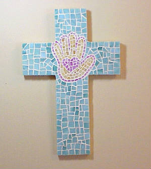 Mosaic Cross ~ Heart In Hand In Sage