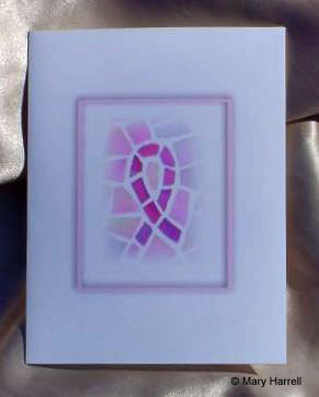 Mosaic Notecard ~ Breast Cancer Pink Ribbon